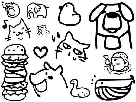 Black and white line art set for Japanese macaques, dogs, cats, etc.