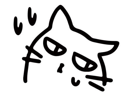 Black and white line art of a cat turning away