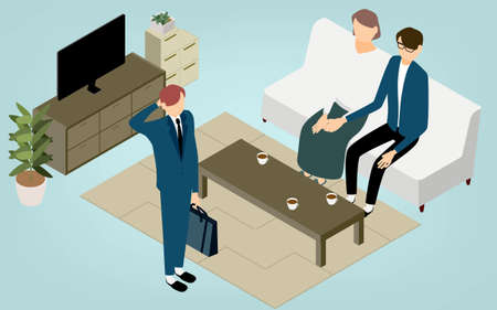 Isometric, parents rejoice in their son's growth in the living room