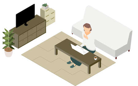 Isometric, people teleworking at the low table in the living room