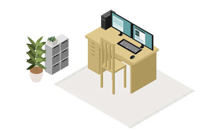 Isometric, teleworkers room, unmanned version