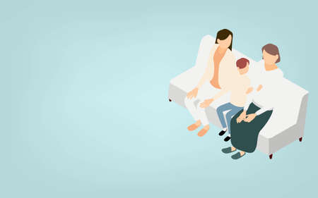 Isometric, LGBT, one of the sexual diversity, parenting of lesbian couples 向量圖像
