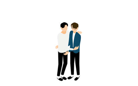 Isometric, LGBT, couple hugging