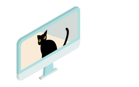 Isometric, an illustration of a cat in an online meeting