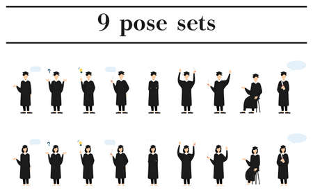 College student in graduation mortarboard and gown, 9 poses