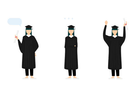 College student in graduation mortarboard and gown, 3 poses