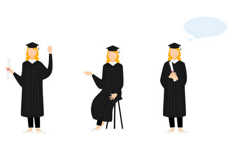 College student in graduation mortarboard and gown, 3 poses Vettoriali