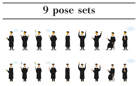 College student in graduation mortarboard and gown, 9 poses Stock Illustratie