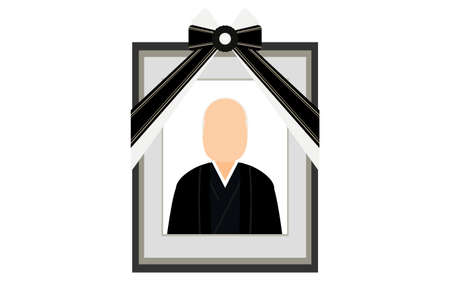 Senior man in a kimono reflected in the deceased