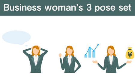 Senior business woman in suit, 3 pose set