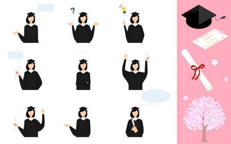 Pose set of a person wearing a gown and a mortarboard at the graduation ceremony Stock Illustratie