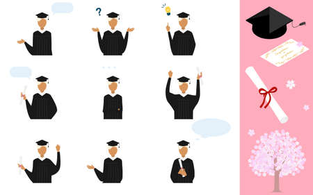 Pose set of a person wearing a gown and a mortarboard at the graduation ceremony