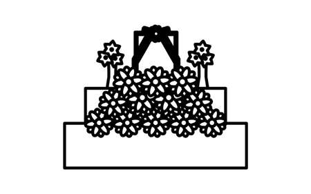 Black and white funeral icon, altar 向量圖像