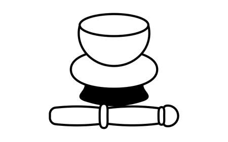 Black and white funeral icon, bell