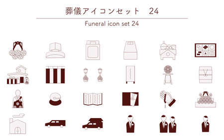 Thin line Buddhist funeral icon set, 24