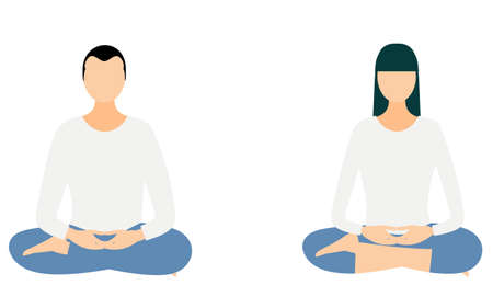 Mindfulness, a pair of men and women meditation in the half-crowned Maitreya