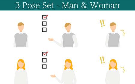Person's pose set: Face to front, show list, surprise