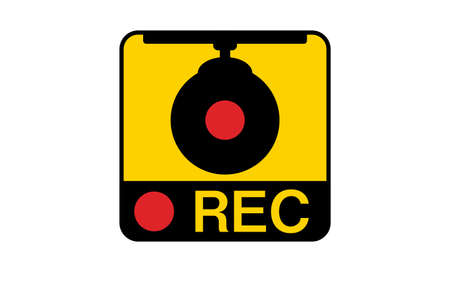 Warning sticker indicating the recording of the drive recorder