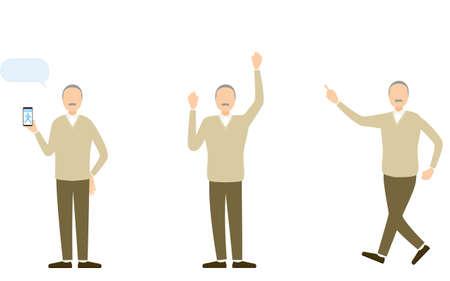 Senior men in everyday wear, pose set