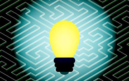 Image of coming up with a solution, maze and light bulb, isometric