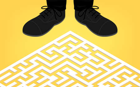 Illustration of a maze spreading at your feet, isometric
