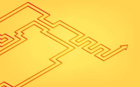 Illustration of undulating arrow, image of moving forward while hesitating, isometric