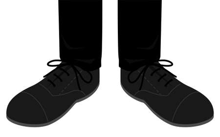 Illustration of feet wearing leather shoes