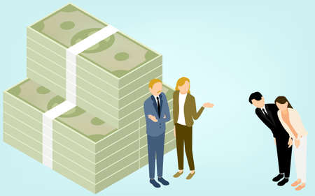 Illustrations of men and women who are reluctant to ask for a loan, isometric 向量圖像