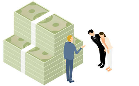 Illustrations of men and women requesting loans, isometric