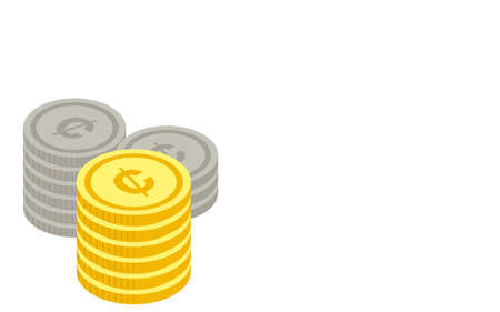 Illustration with dimes piled up, isometric
