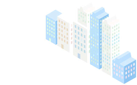 Illustration of skyscrapers lined up side by side, isometric