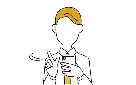 Faceless pose illustration, office worker's upper body, what to look for on a smartphone