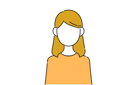 Faceless pose illustration, female student's upper body, immovable