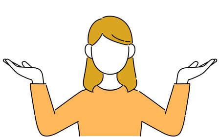 Faceless pose illustration, female student's upper body, hand up