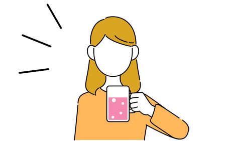 Faceless pose illustration, female student's upper body, beer