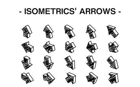 Three-dimensional arrow set illustration, line art