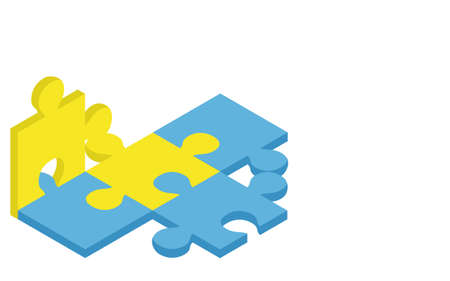 Three-dimensional jigsaw puzzle, problem-solving image, isometric
