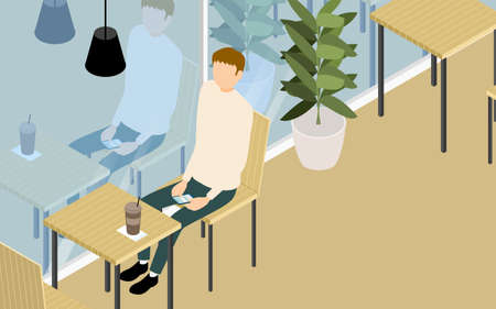 Isometric, a man having tea on the terrace of a wood-style cafe