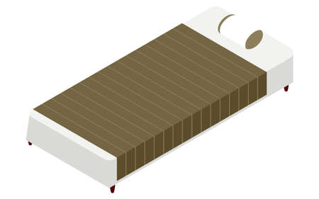 Bed with simple sheets, isometric