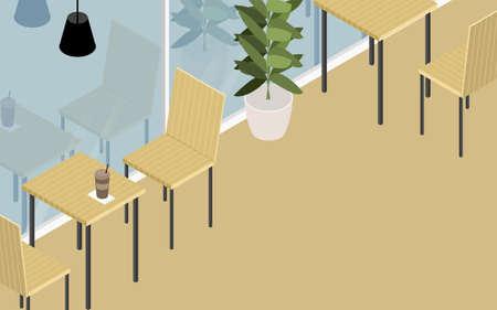 Wood-style cafe terrace seats, isometric
