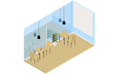 Inside of a wood-style cafe, isometric