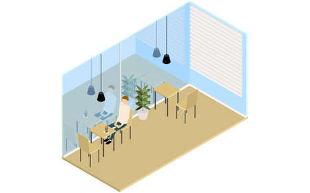 Isometric, a man having tea in a wood-style cafe