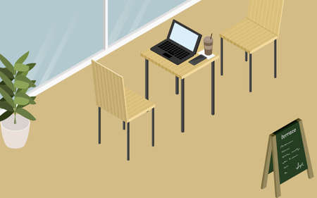 Wood-style cafe terrace seats and laptops, isometric