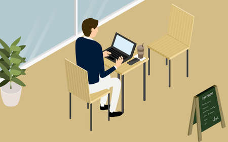 Isometric, a person working on a computer on the terrace of a wood-style cafe