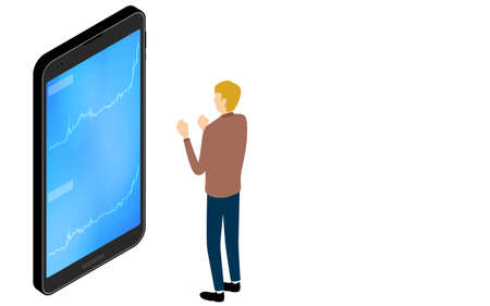 Isometric, a person who is pleased to see the rising chart of stocks on a smartphone app Vector Illustratie