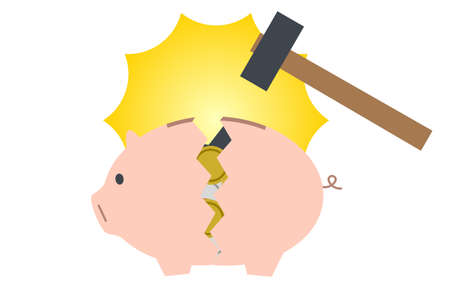 Image of savings, where you break a piggy bank with a hammer and take out money