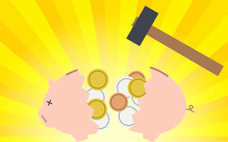 Image of savings, where the piggy bank is broken and money is taken out, the background of the concentrated line Vecteurs