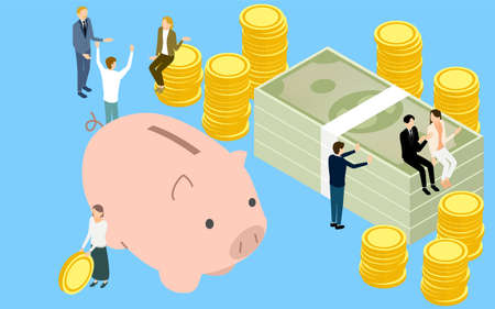 Image of savings, piggy bank and piled coins and dollar bills and people, isometric