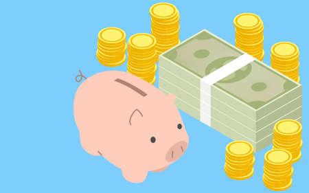 Image of savings, piggy bank and stacked coins and dollar bills, isometric Vektorgrafik