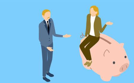 Image of savings, senior men and women talking to piggy banks, isometric